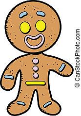 Happy Smiling Cartoon Gingerbread Man Cookie
