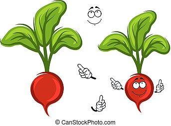 Happy smiling cartoon radish vegetable