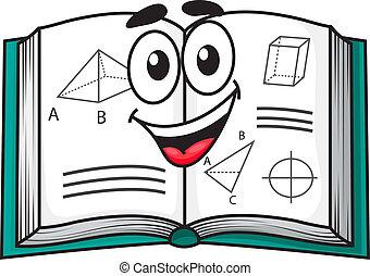 Happy smiling cartoon school textbook