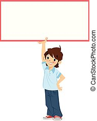 Happy smiling cartoon student boy holding a white blank sign
