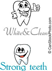 Happy smiling cartoon teeth for dental logo or emblem design