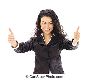 young business woman - Happy smiling cheerful young business...