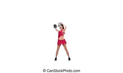Happy Smiling Cheerleader. Isolated On White Background. Slow motion