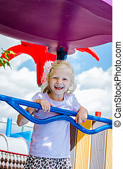 happy smiling child in playground