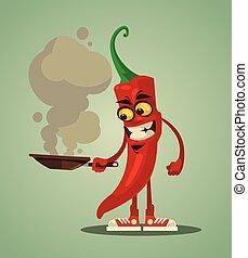 Happy smiling chilli pepper frying. Vector flat cartoon illustration