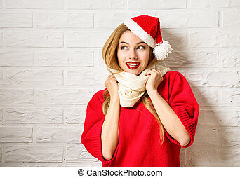 Happy Smiling Christmas Girl in Red Winter Clothes