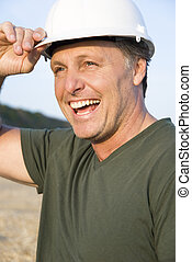happy smiling consruction worker. - happy smiling ...