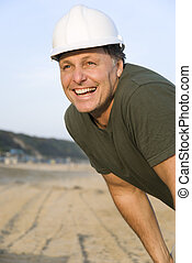 happy smiling consruction worker.