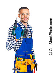 Happy smiling construction worker with drill and tool belt