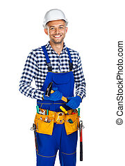 Happy smiling construction worker with hammer and tool belt