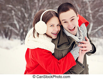 Happy smiling couple in love.