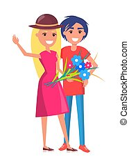 Happy Smiling Couple with Bouquet of Flowers