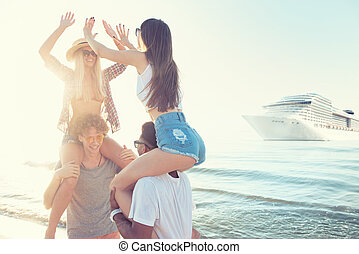 Happy smiling couples who travel by cruiseship. Concept of...