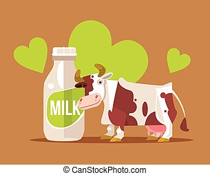Happy smiling cow character with milk bottle. Vector flat cartoon illustration