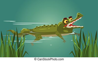 Happy smiling crocodile character swimming. Vector flat...