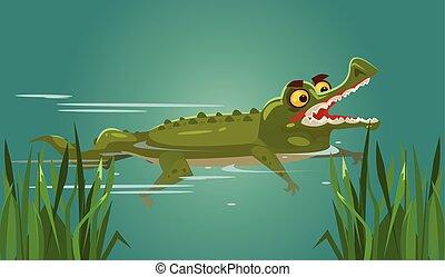 Happy smiling crocodile character swimming. Vector flat...