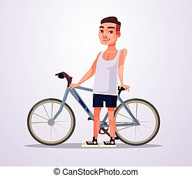 Happy smiling cyclist man character. Vector flat cartoon illustration