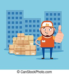 Happy smiling delivery man courier show ok sigh with hand....