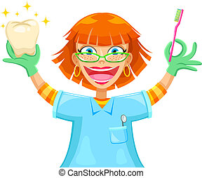 dentist - happy smiling dentist holding a toothbrush and a...