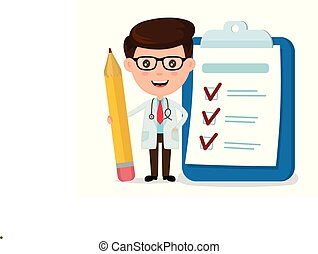 Happy smiling doctor with pencil, clipboard, checklist ...