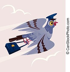 Happy smiling dove pigeon bird postman courier character bring deliver letter mail correspondence message. Delivery communication postage service transportation email. Vector flat cartoon isolated illustration graphic design