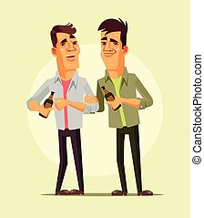 Happy smiling drunk businessman office workers characters celebration. Night club bar isolated cartoon vector illustration