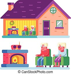 Happy smiling elderly family couple sitting in chairs front of fireplace home radio interior private ownership house flat design concept vector illustration
