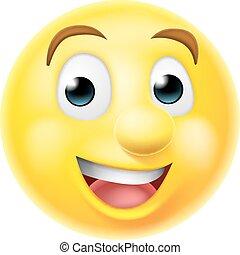 Happy smiling emoji emoticon - A happy smiling cartoon emoji...