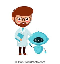 Happy smiling engineer with cute little robot