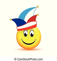 happy smiling face with carnival hat