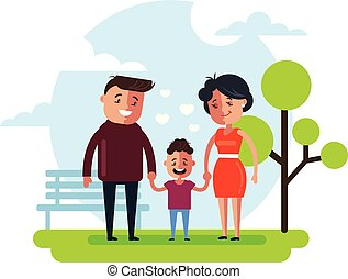 Happy smiling family mother father and son child walking in public park. Happy family relationship concept. Vector flat cartoon graphic design isolated illustration