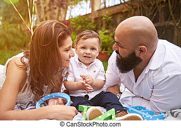 Happy smiling family playing