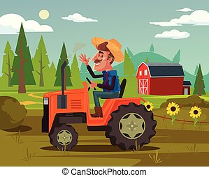 Happy smiling farmer driver ride tractor car and harvest...