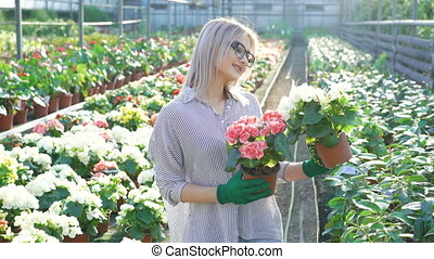 Happy smiling female gardener holding flowerpots 4K.