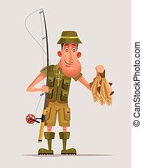 Happy smiling fisherman character hold many fish. Vector flat cartoon illustration
