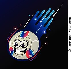 Happy smiling football ball character mascot with smiley face expression flying in space and burning flame. Sport game supporting concept isolated flat cartoon graphic design illustration