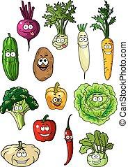Happy smiling fresh garden vegetables
