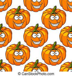 Happy smiling fresh pumpkin seamless pattern