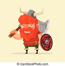 Happy smiling friendly viking man character mascot. Vector flat cartoon illustration