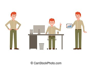 Happy, smiling, funny, red hair young office man vector illustration. Sitting at the desk, standing with tablet, pointing finger boy cartoon character set