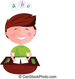 Cartoon vector illustration of boy learning the letters.