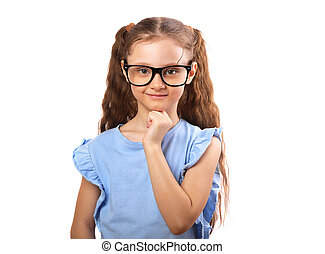 Happy smiling girl in eye glasses thinking and looking isolated on white background with empty copy space.