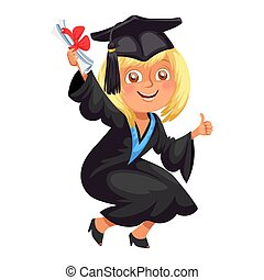 Happy smiling girl in gown with diploma throwing cap vector illustration.