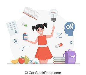 Happy smiling girl in red dress holding plastic bottle with vitamins vector flat cartoon illustration.