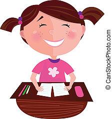 Happy smiling girl in school - Small girl posing in...