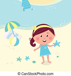 Happy smiling girl on the beach holding sea star