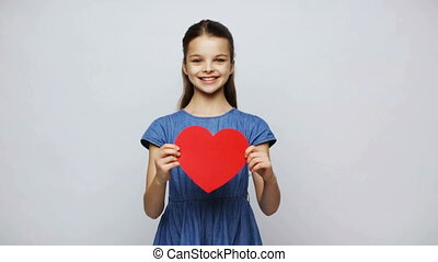 happy smiling girl with red heart - love, valentines day,...