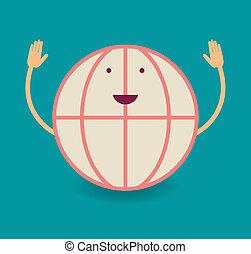 Happy smiling globe