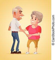 Happy smiling grandparents characters dance. Vector flat cartoon illustration