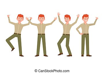 Happy, smiling, handsome red hair young man in green pants vector illustration. Jumping, hands up, having fun boy cartoon character set